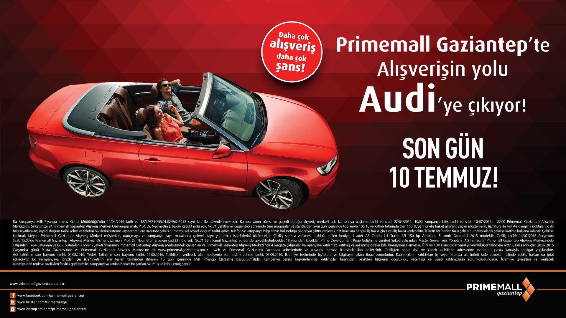 Primemall Gaziantep'te Alışverişin Yolu Audi'ye Çıkıyor!