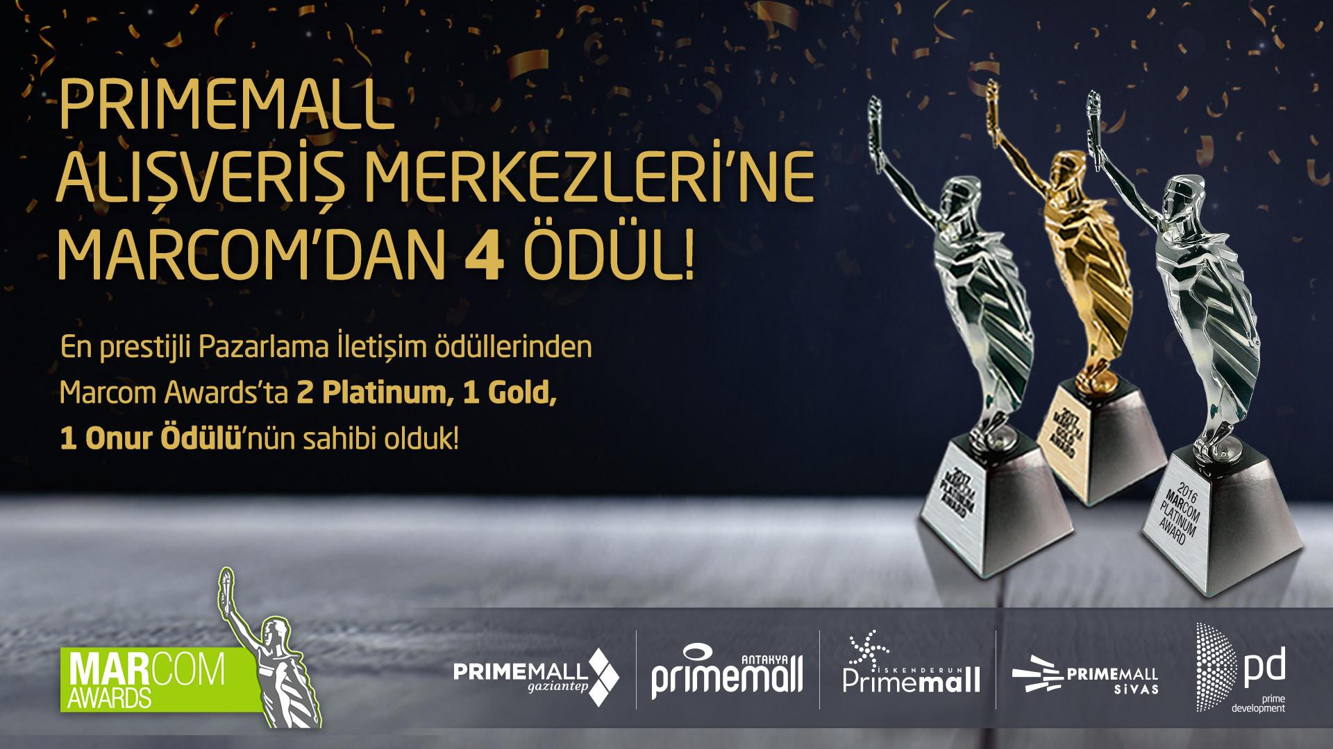 Primemall Alışveriş Merkezlerine Marcom'dan 4 Ödül!