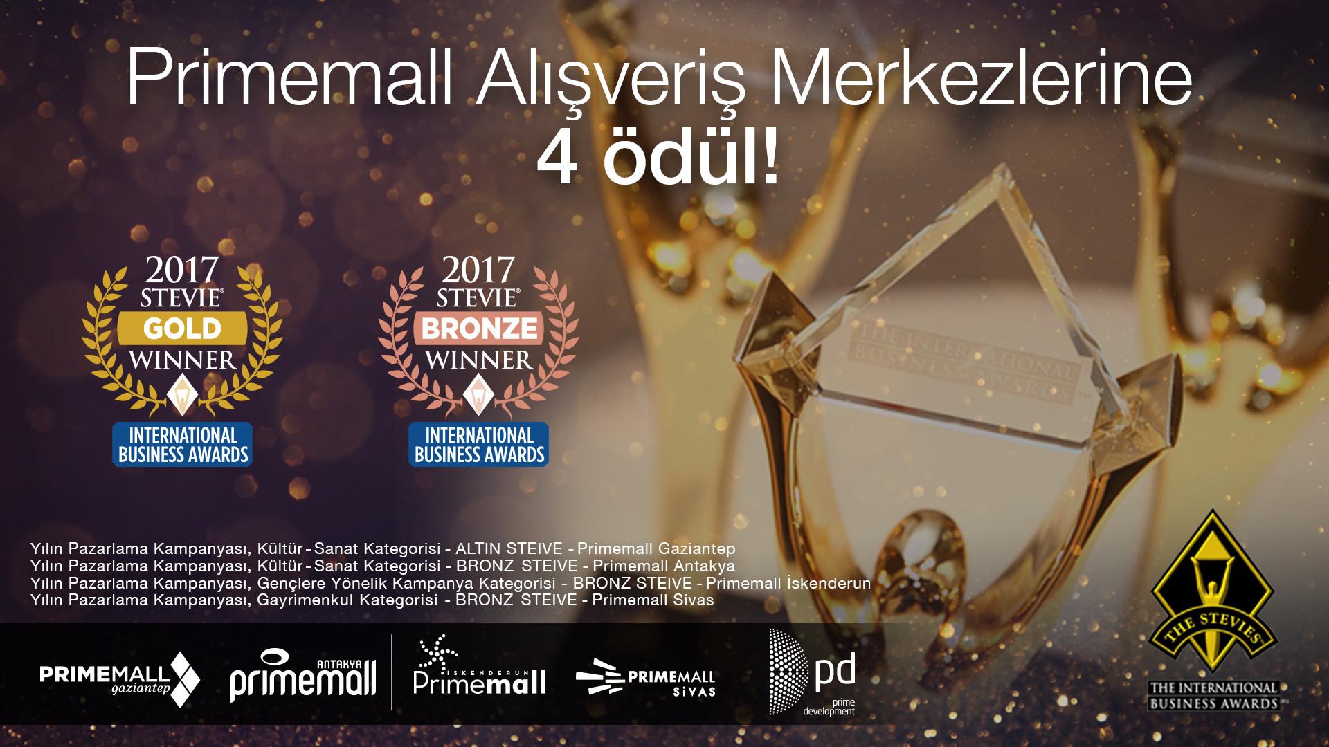 Primemall Alışveriş Merkezlerine 4 Ödül