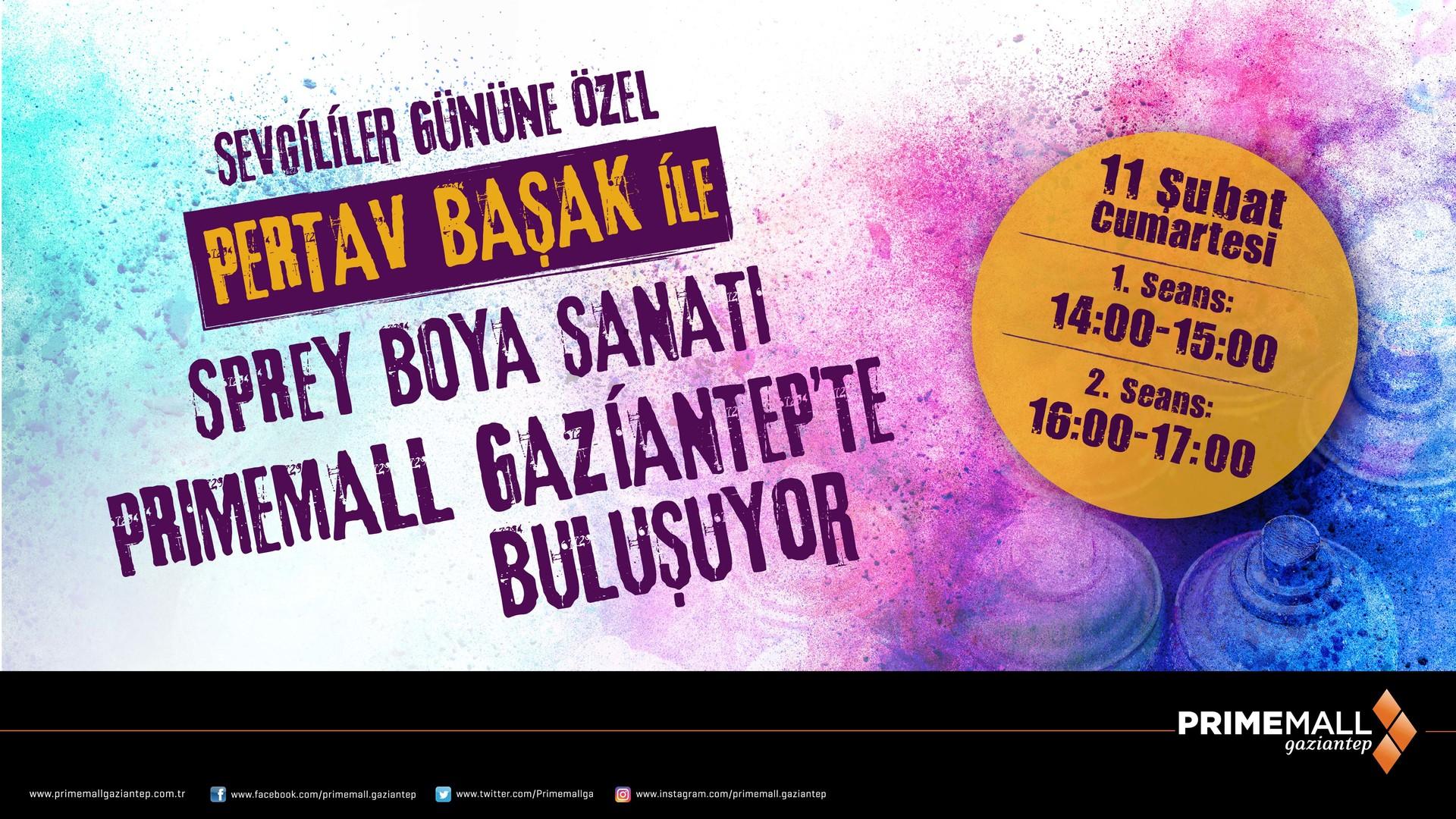 Sevgililer Gününe Özel Pertav Başak ile Sprey Boya Sanatı Primemall Gaziantep'te Buluşuyor