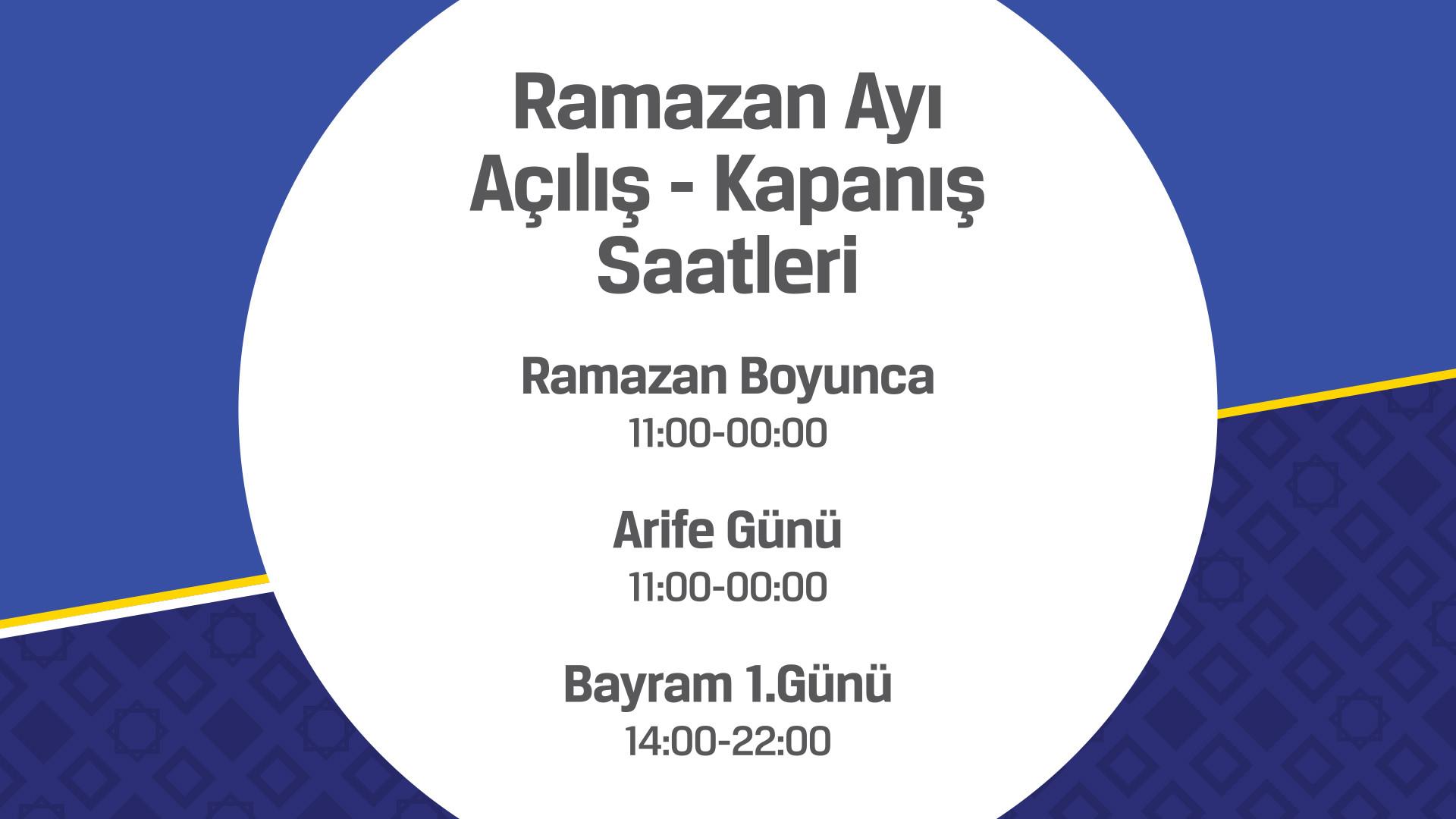 Ramazan ayı açılış kapanış saatleri