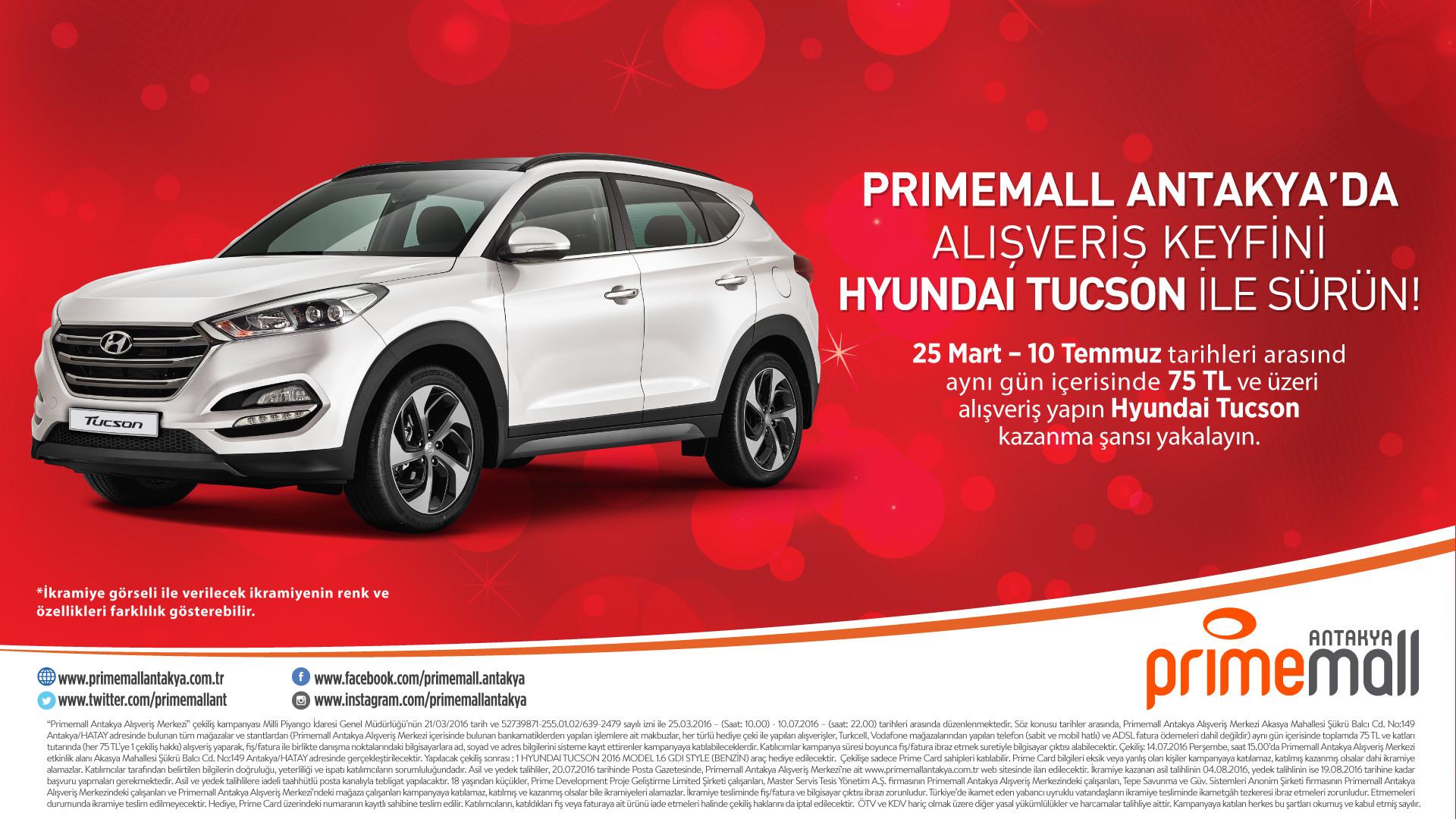 Primemall Antakya'da Alışveriş Keyfini Hyundai Tucson İle Sürün!