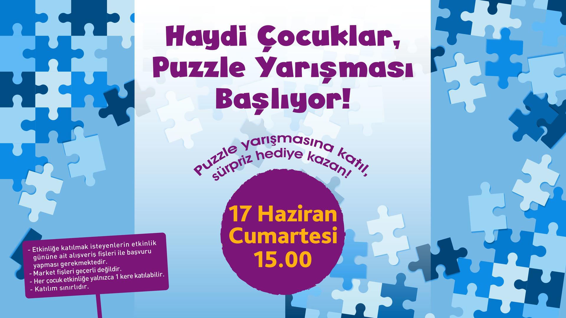 Haydi çocuklar, puzzle yarışması başlıyor