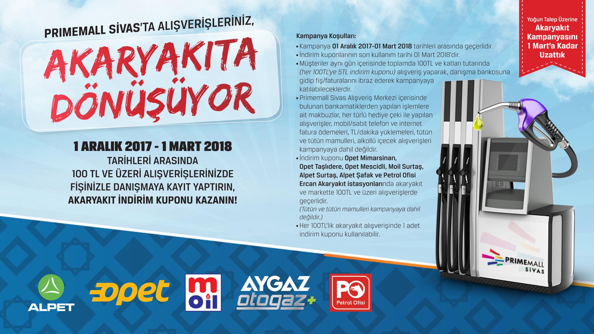 Primemall Sivas'ta Alışverişiniz Akaryakıta Dönüşüyor