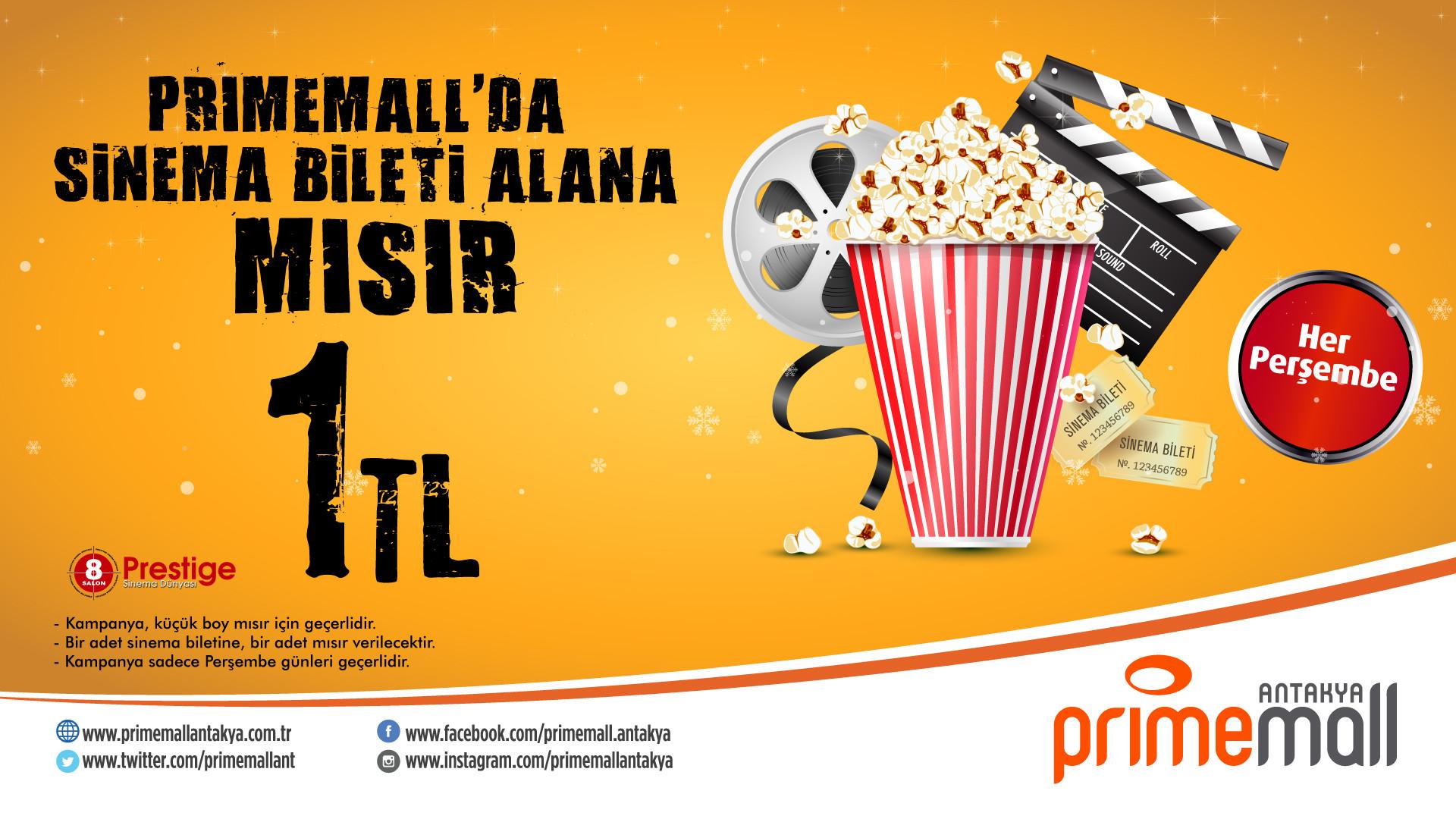 Primemall'da Sinema Bileti Alana Mısır 1 TL